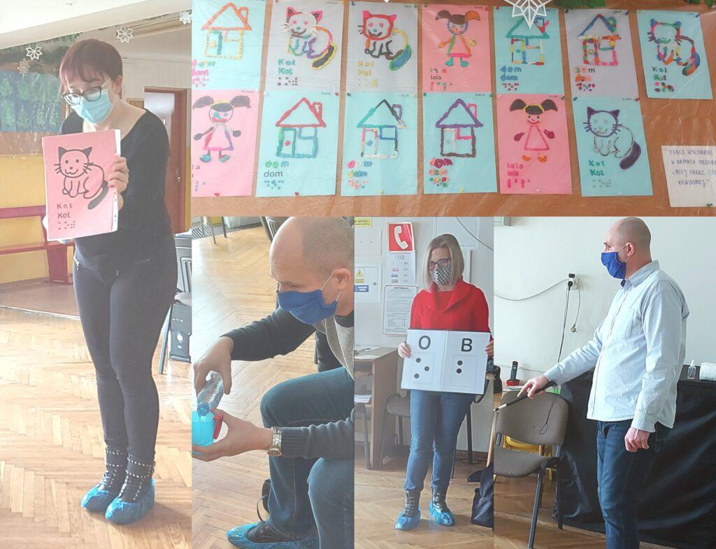 Na fotografii: Justyna Margielewska, Łukasz Baruch i Karolina Żelichowska oraz galeria prac dzieci.