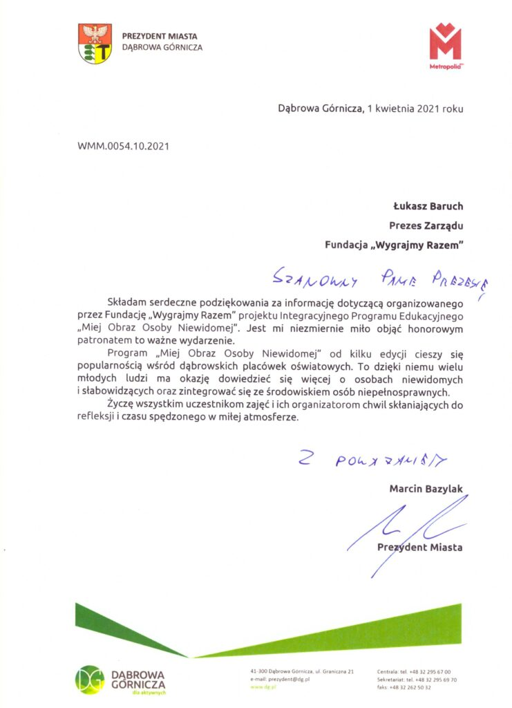Patronat honorowy - gratulacje od Prezydenta DG