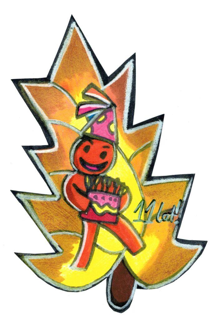 Ilustracja odręczna - wykonana kredkami i pisakami - postać Elfa z logo z tortem i w czapce. Rysunek w kształcie liścia. Obok postaci informacja - 11 lat!