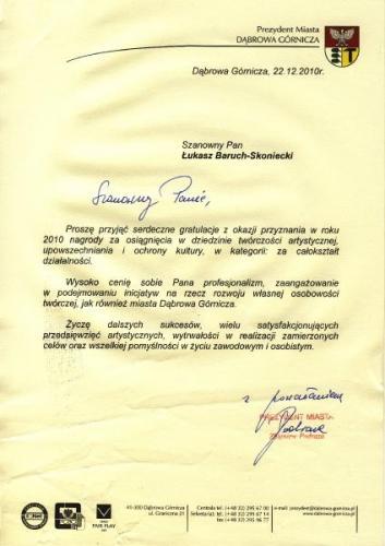 Dyplom dla Łukasza Barucha
